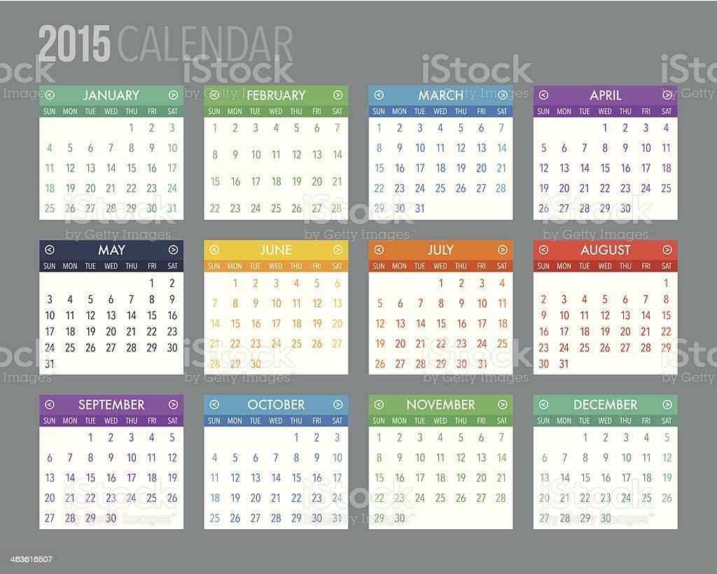 Colorful 2015 Calendar Template vector art illustration