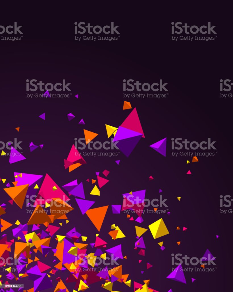 Colorful 3D pyramids flying over a dark-toned background royalty-free stock vector art