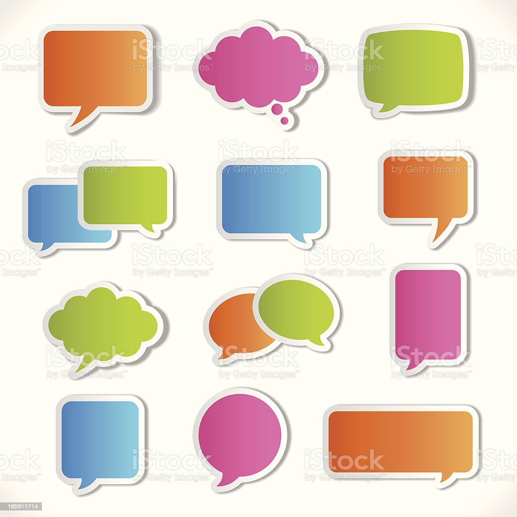 Colorful 3-D speech bubble icon set royalty-free stock vector art