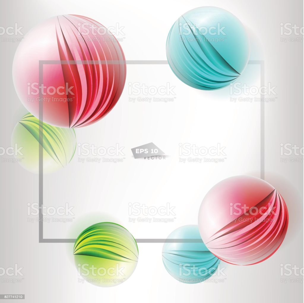 Colorful 3d vector paper cutout balls in frame vector art illustration