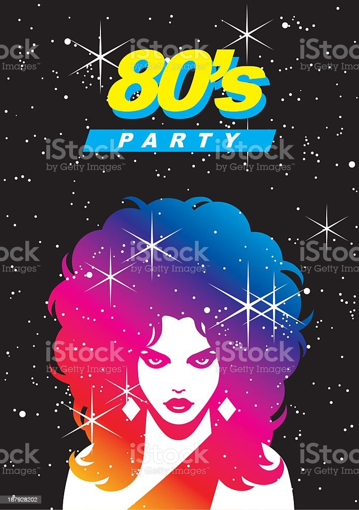 Colorful 80's party poster design royalty-free stock vector art