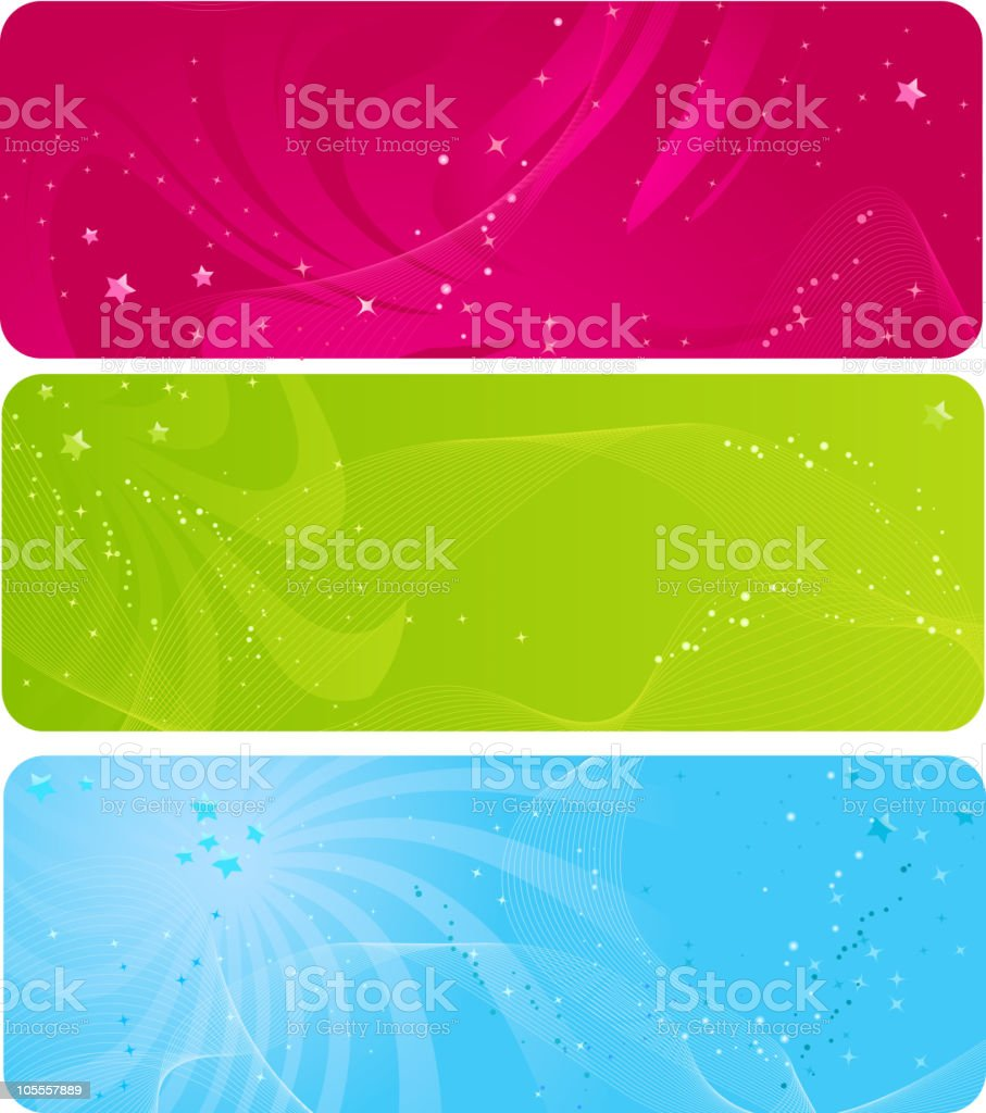 Colorful abstract banners with stars royalty-free stock vector art
