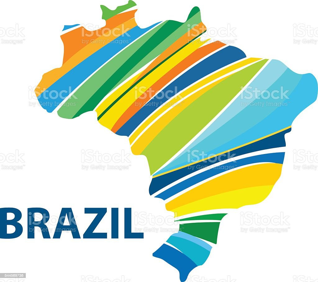 Colorful abstract Brazil map vector vector art illustration