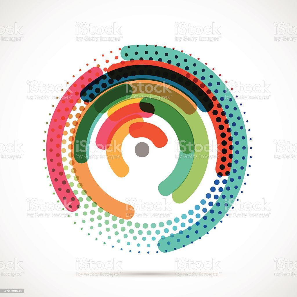 Colorful abstract circle and dot design pattern vector art illustration