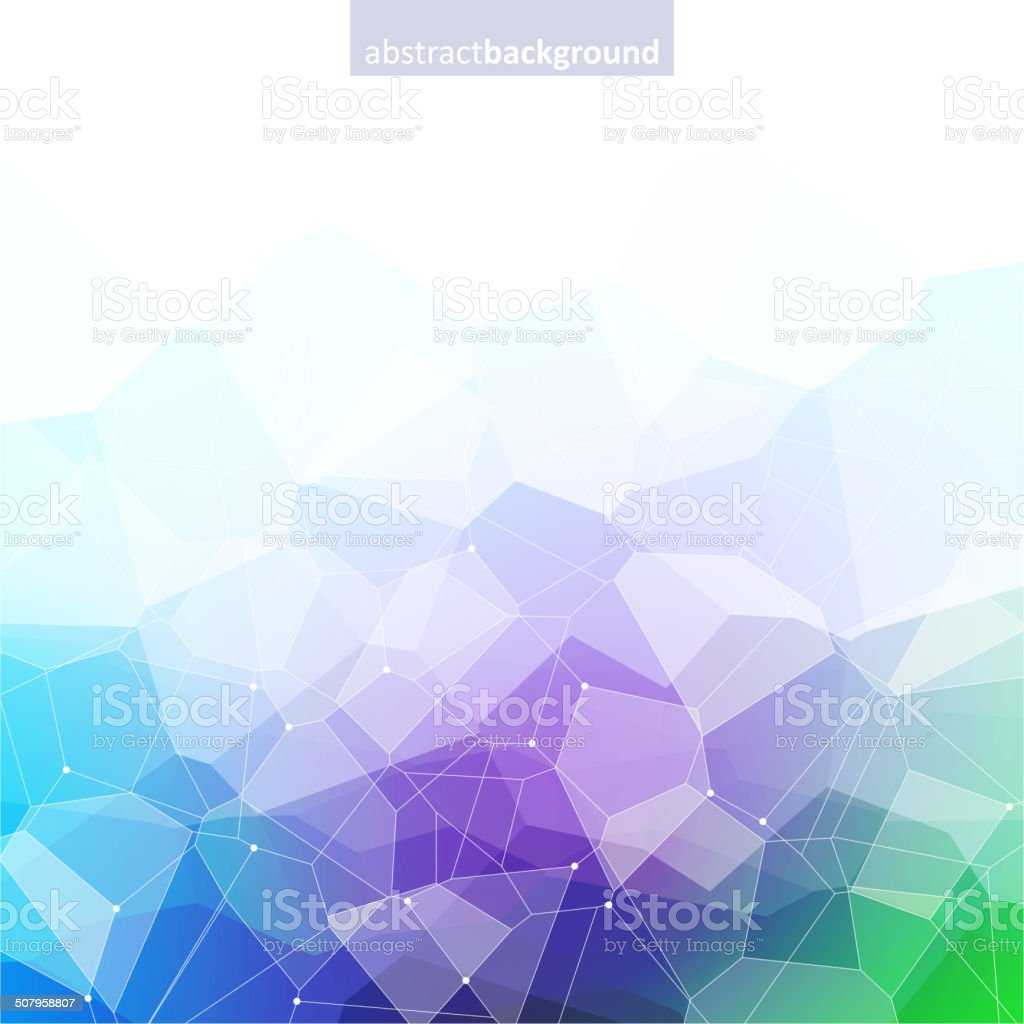 Colorful abstract crystal background. Green, purple and blue bright colors. vector art illustration