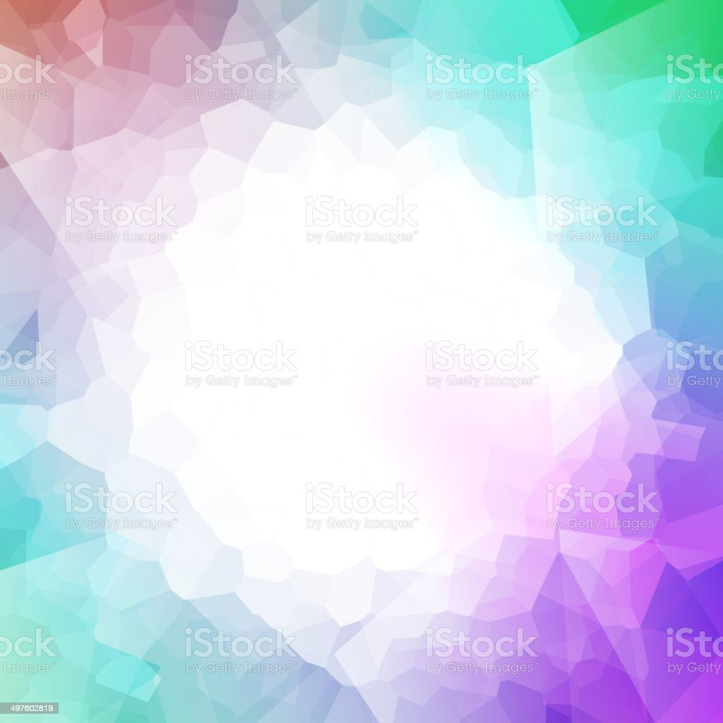 Colorful abstract crystal background. Round frame - purple, green colors. vector art illustration