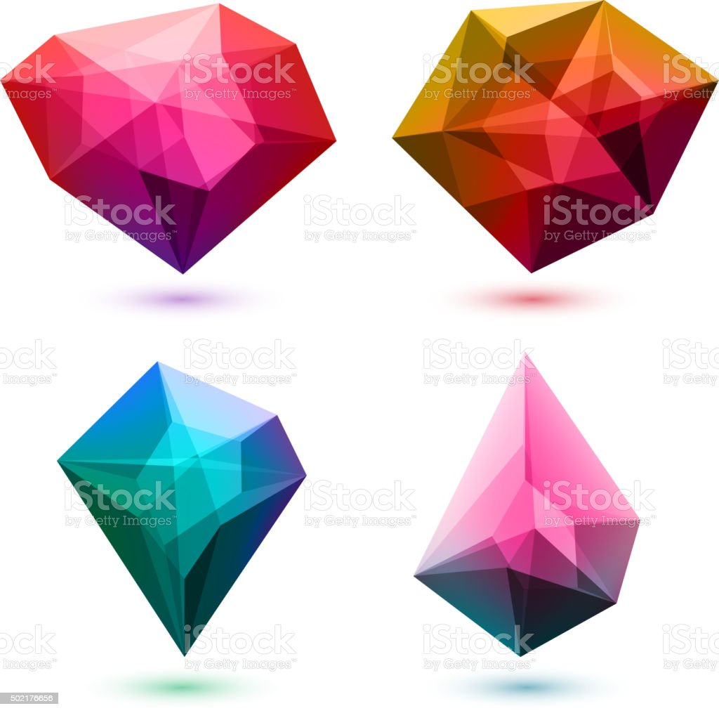 Colorful abstract crystals set. Vector illustration vector art illustration