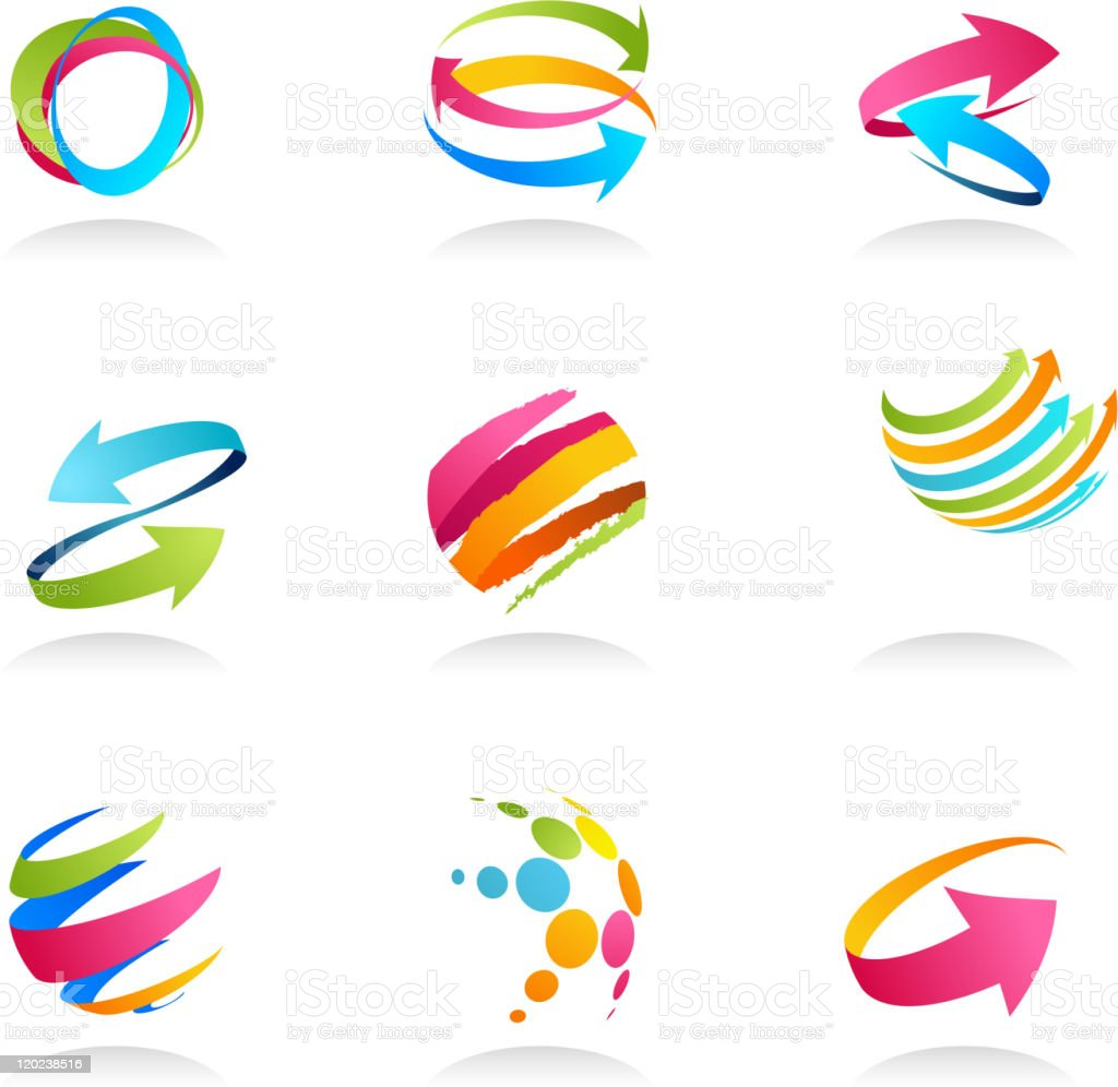 Colorful abstract design elements and icons vector art illustration