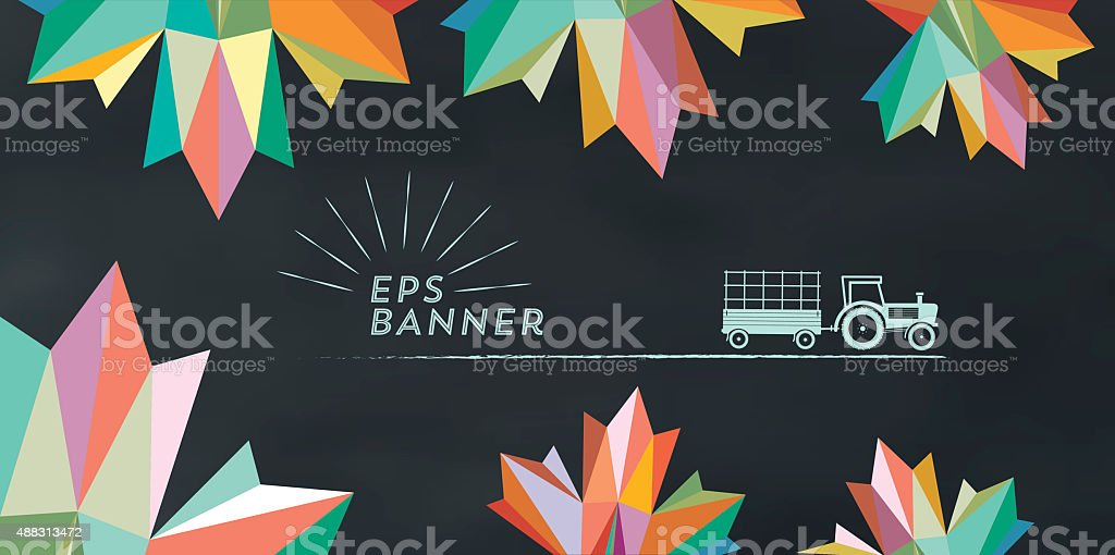 colorful abstract fall illustration on chalkboard with vintage sign stock photo