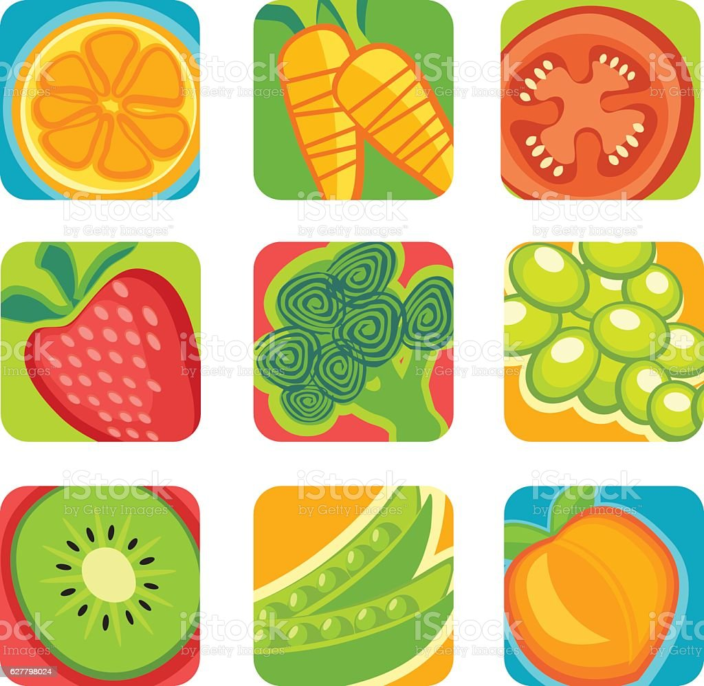 colorful abstract fruit and vegetable icons vector art illustration