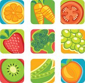 colorful abstract fruit and vegetable icons