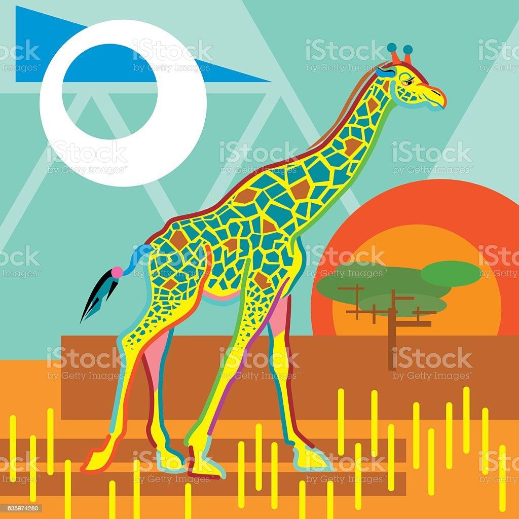 Colorful Abstract Giraffe vector art illustration