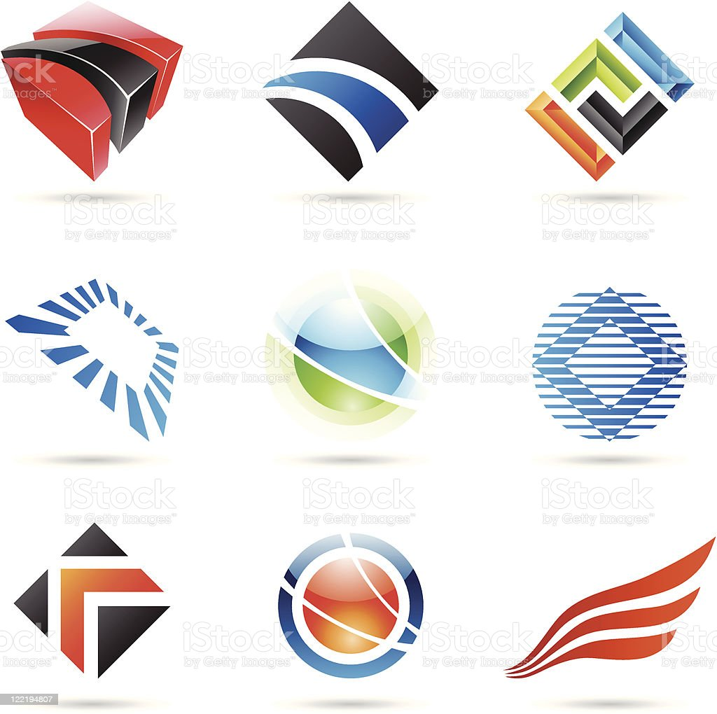 Colorful abstract icons vector art illustration