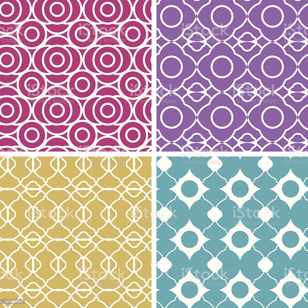 Colorful abstract lineart geometric seamless patterns set royalty-free stock vector art