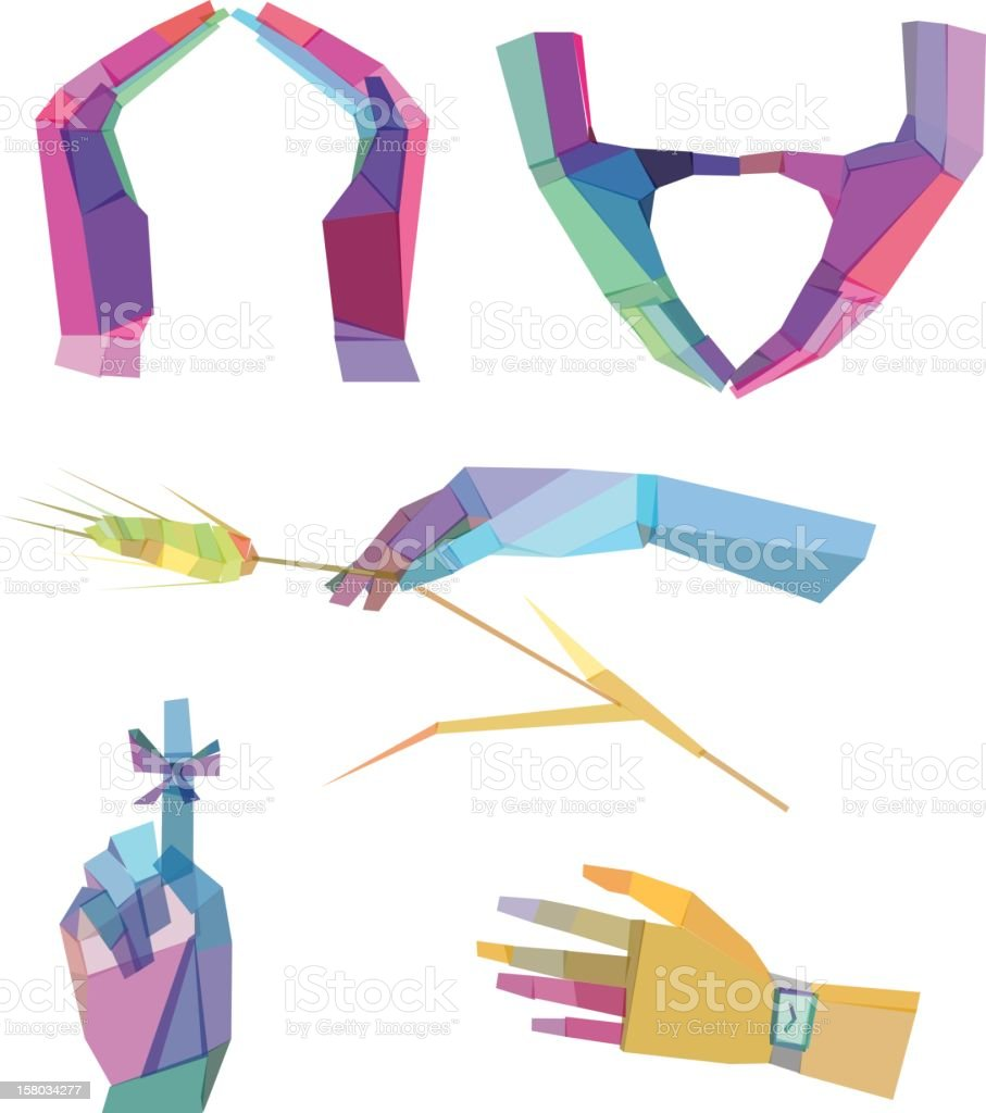 Colorful abstract Polygonal Hands royalty-free stock vector art