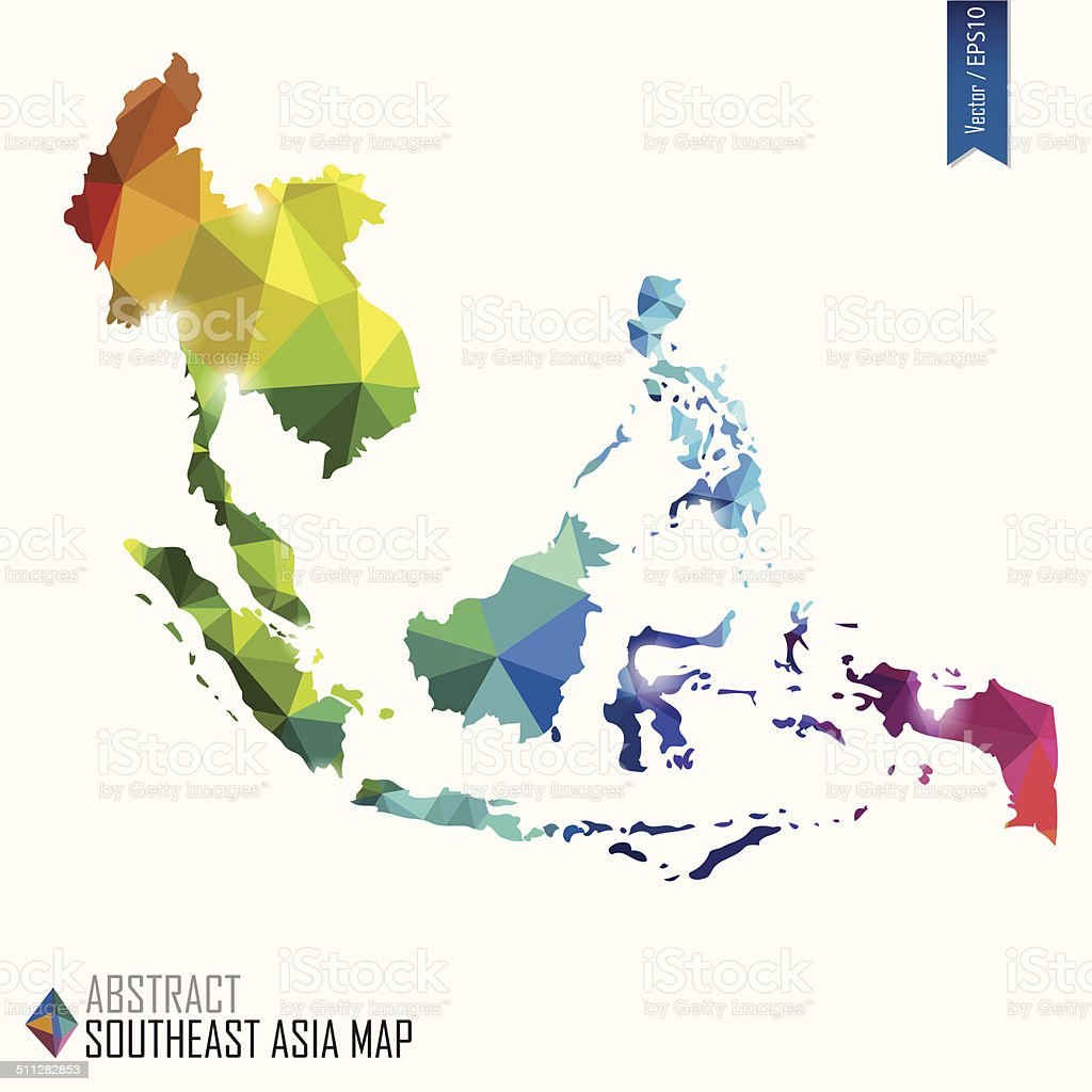 colorful abstract Southeast Asia map, vector illustration, EPS10 vector art illustration