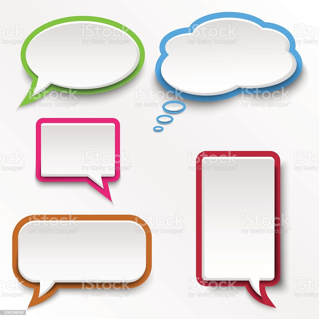 Colorful abstract speak bubbles template vector art illustration