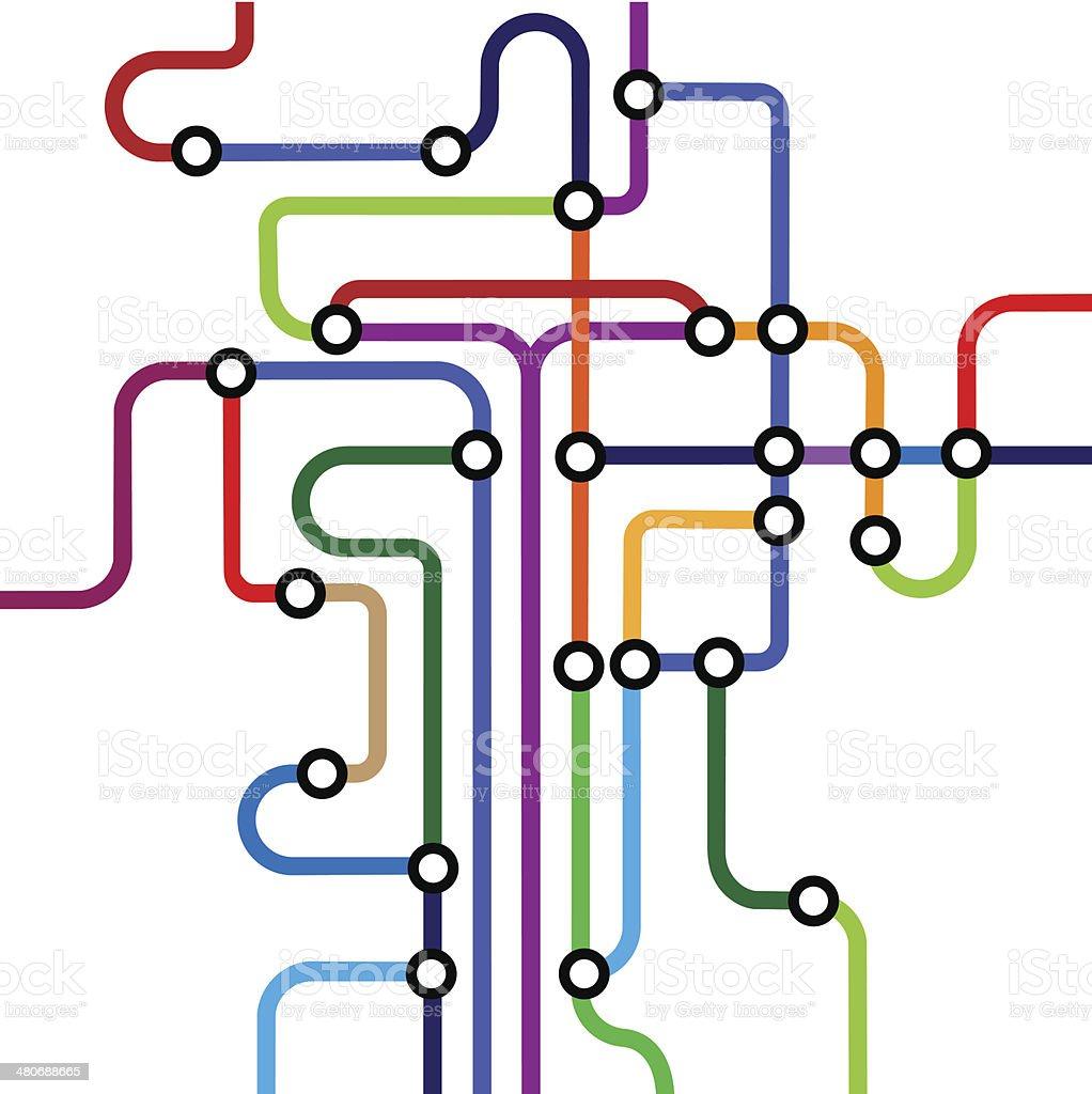 Colorful abstract subway map vector art illustration