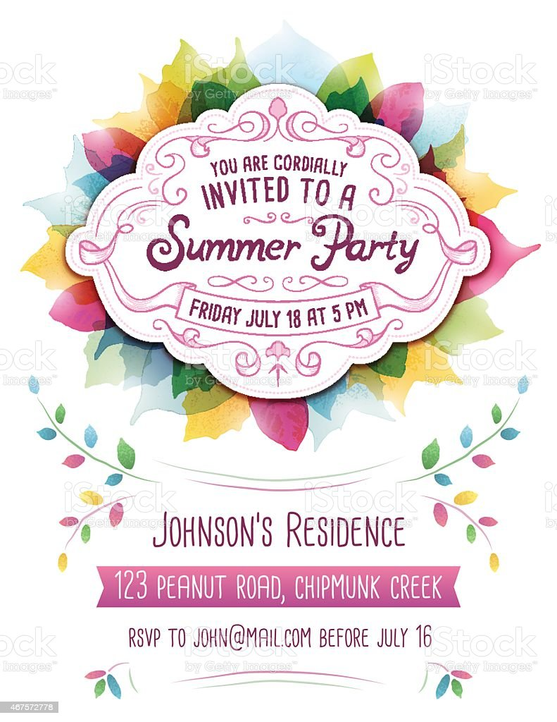 Colorful abstract template for a Summer Party invitation vector art illustration