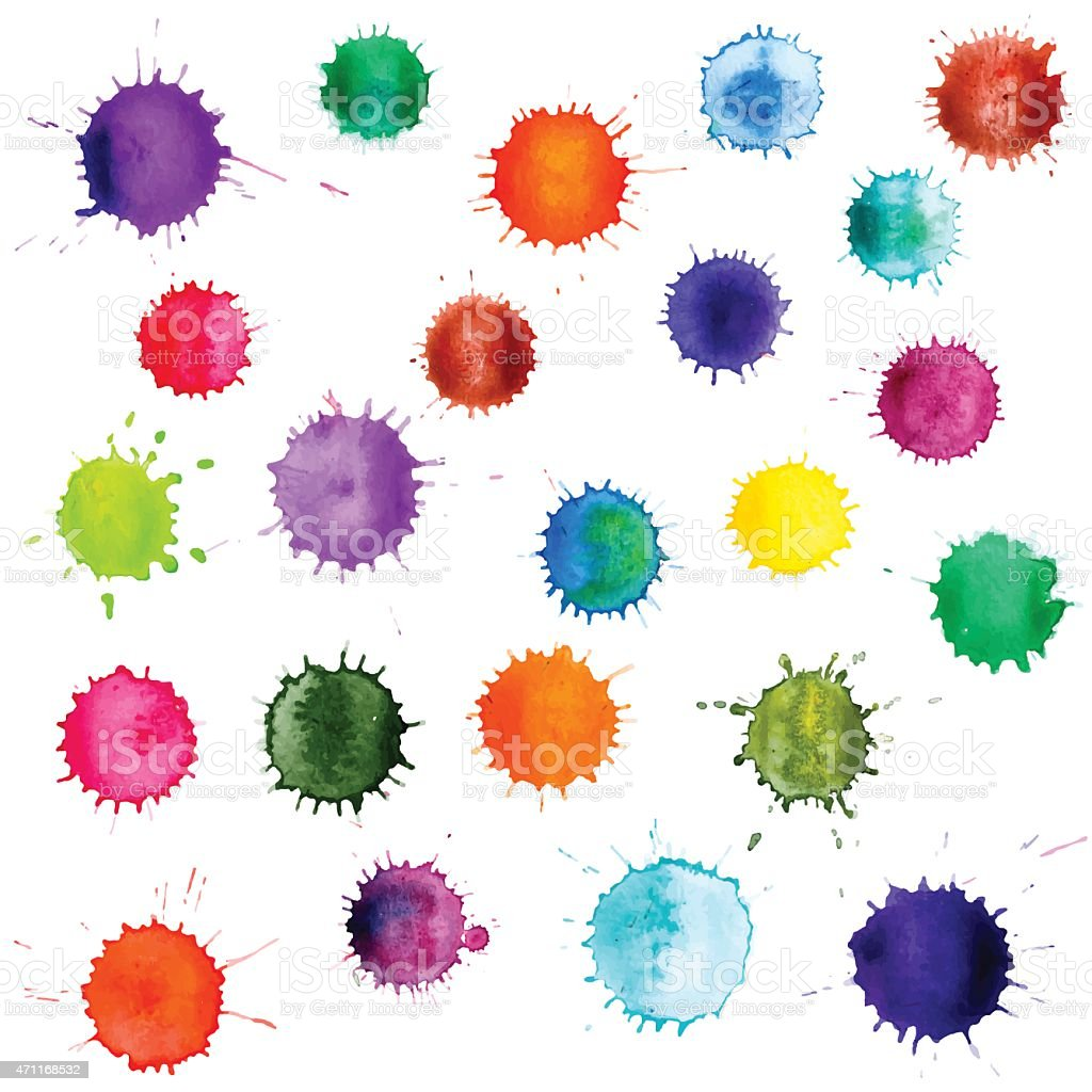 Colorful abstract vector ink paint splats. Set of watercolor blobs vector art illustration