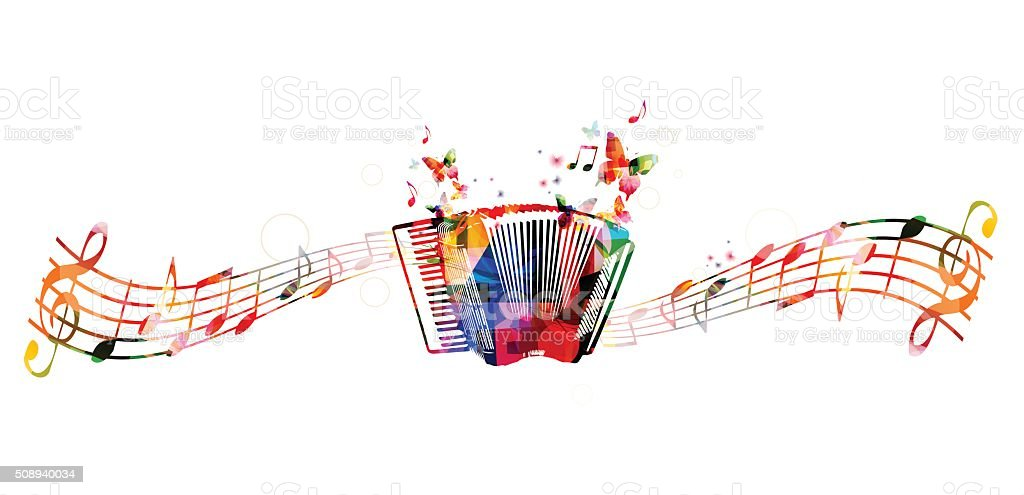 Colorful accordion design with butterflies vector art illustration