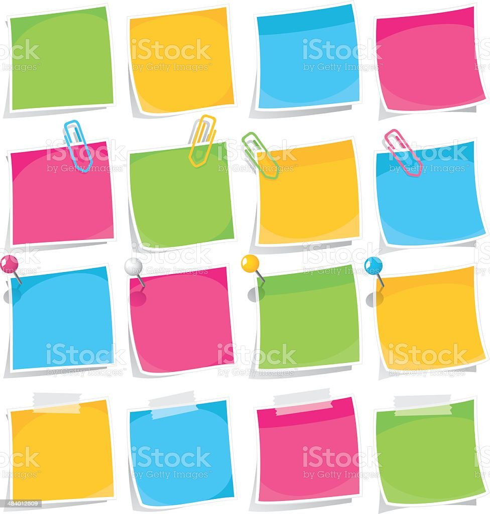 Colorful Adhesive Notes Set vector art illustration