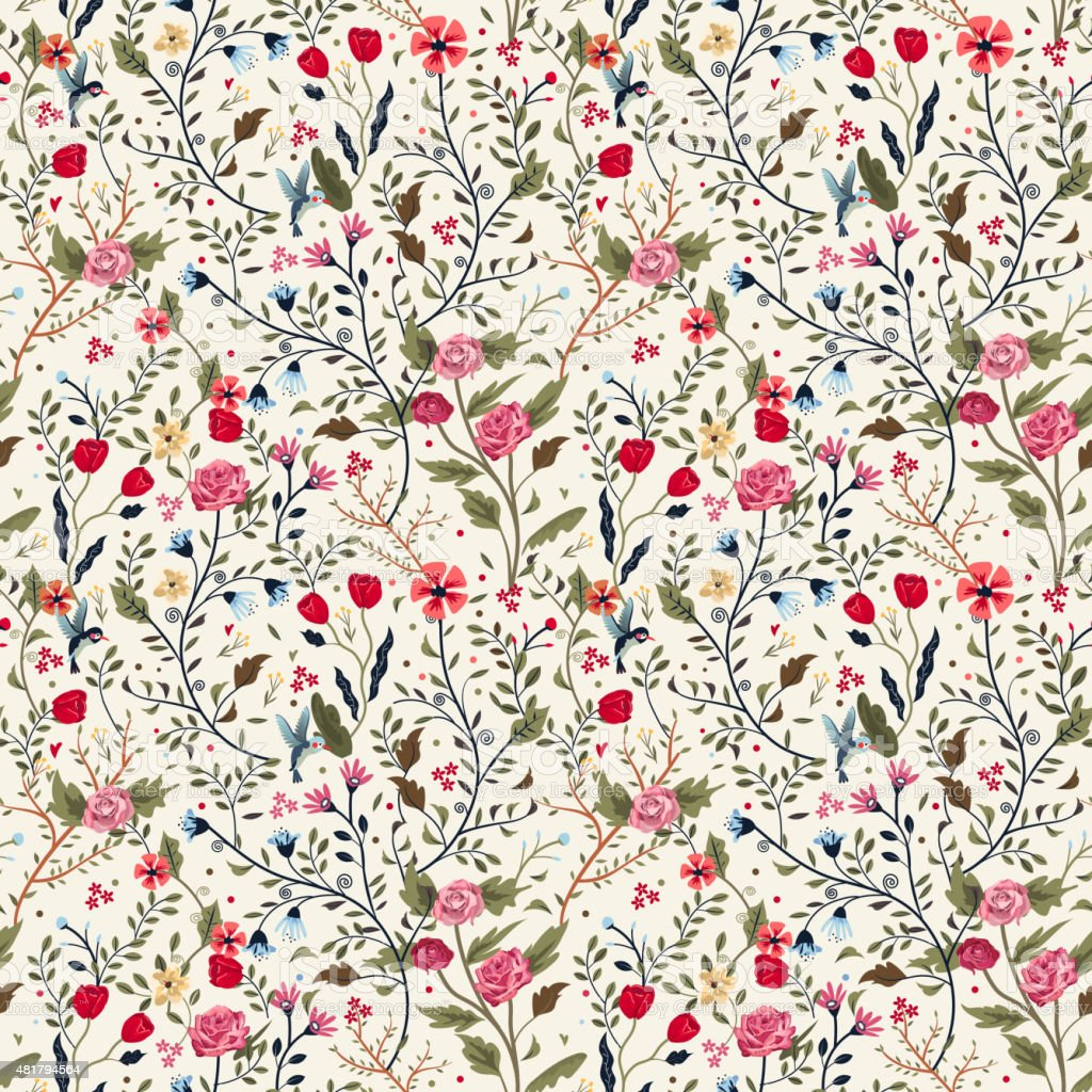 colorful adorable seamless floral pattern vector art illustration