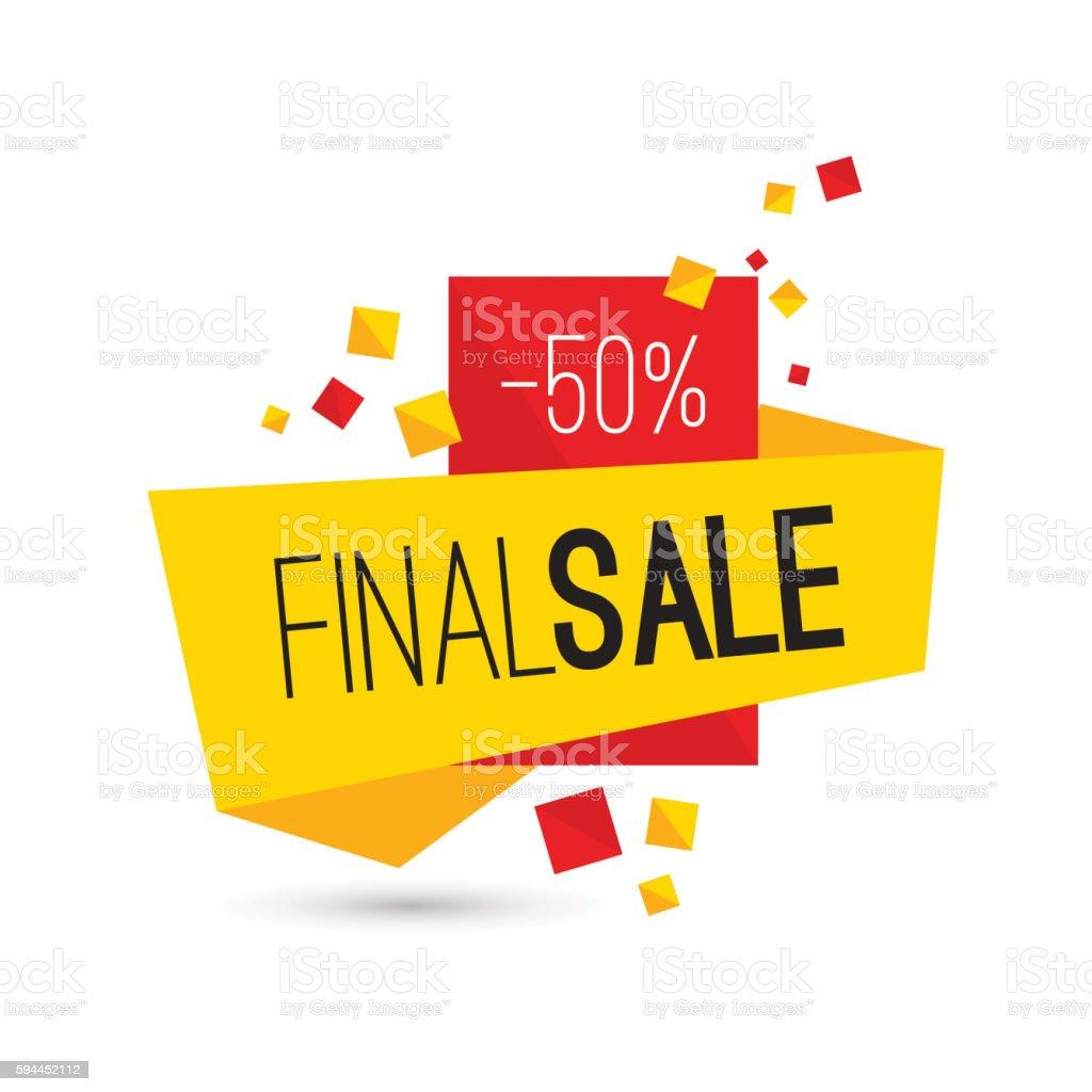 Colorful advertising final sale banner. 50 percent off. vector art illustration