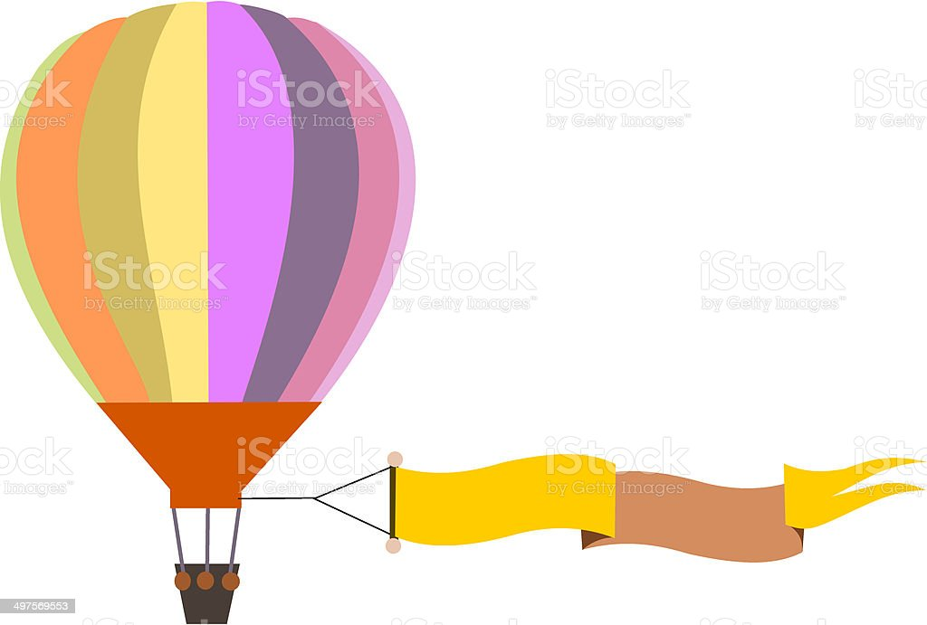 colorful air balloon with banner royalty-free stock vector art