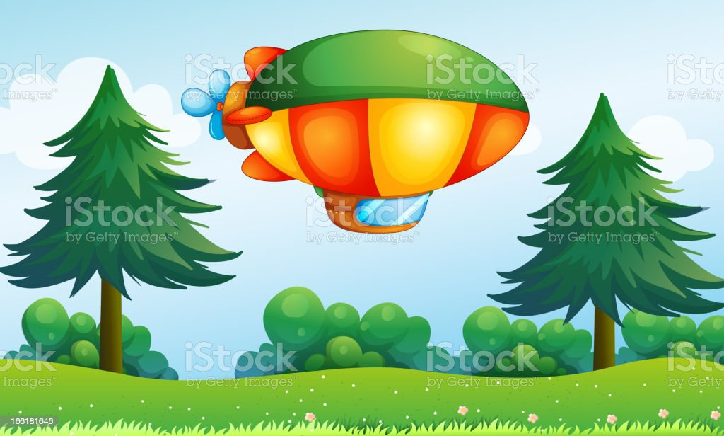 Colorful aircarft above the hill royalty-free stock vector art