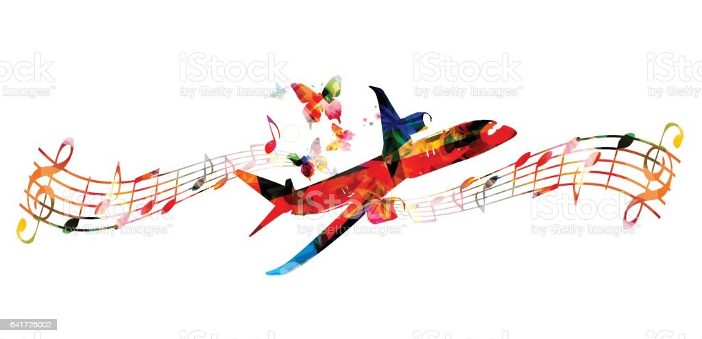 Colorful airplane with music notes and butterflies vector illustration vector art illustration