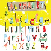 Colorful alphabet.Type letters numbers Vector design elements wi