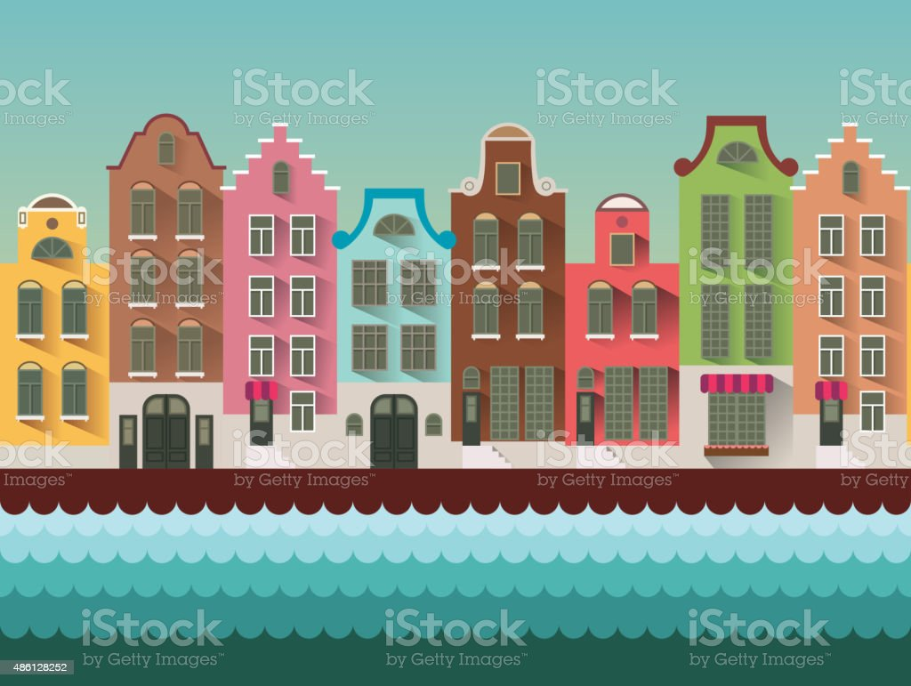 Colorful Amsterdam flat streets and channels seamless vector pattern. vector art illustration