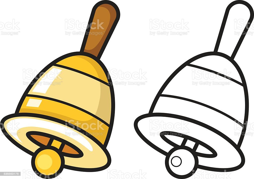 colorful and black and white bell for coloring book vector art illustration