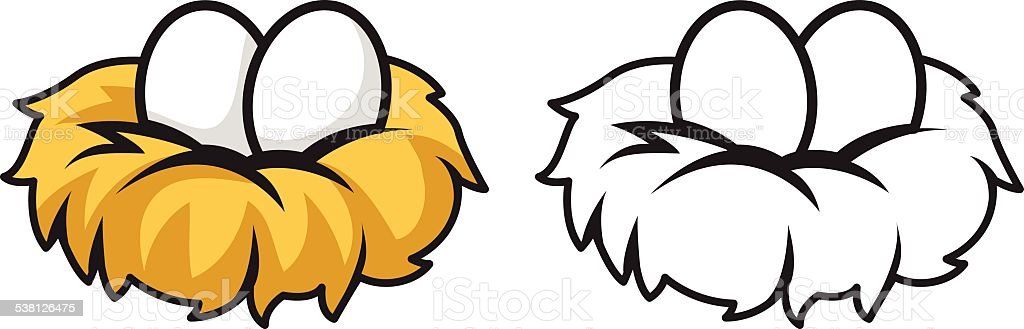colorful and black and white eggs and nest vector art illustration