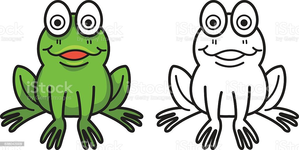 colorful and black and white frog for coloring book vector art illustration