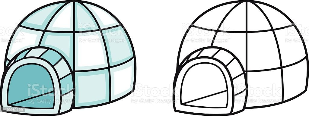 colorful and black and white igloo for coloring book vector art illustration