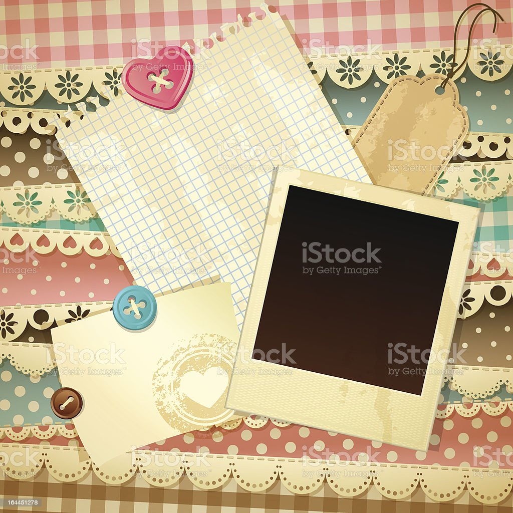 A colorful and decorative scrapbooking template  royalty-free stock vector art