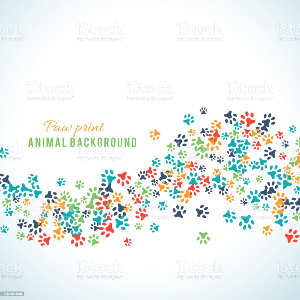 Colorful animal footprint ornament border isolated on white background vector art illustration