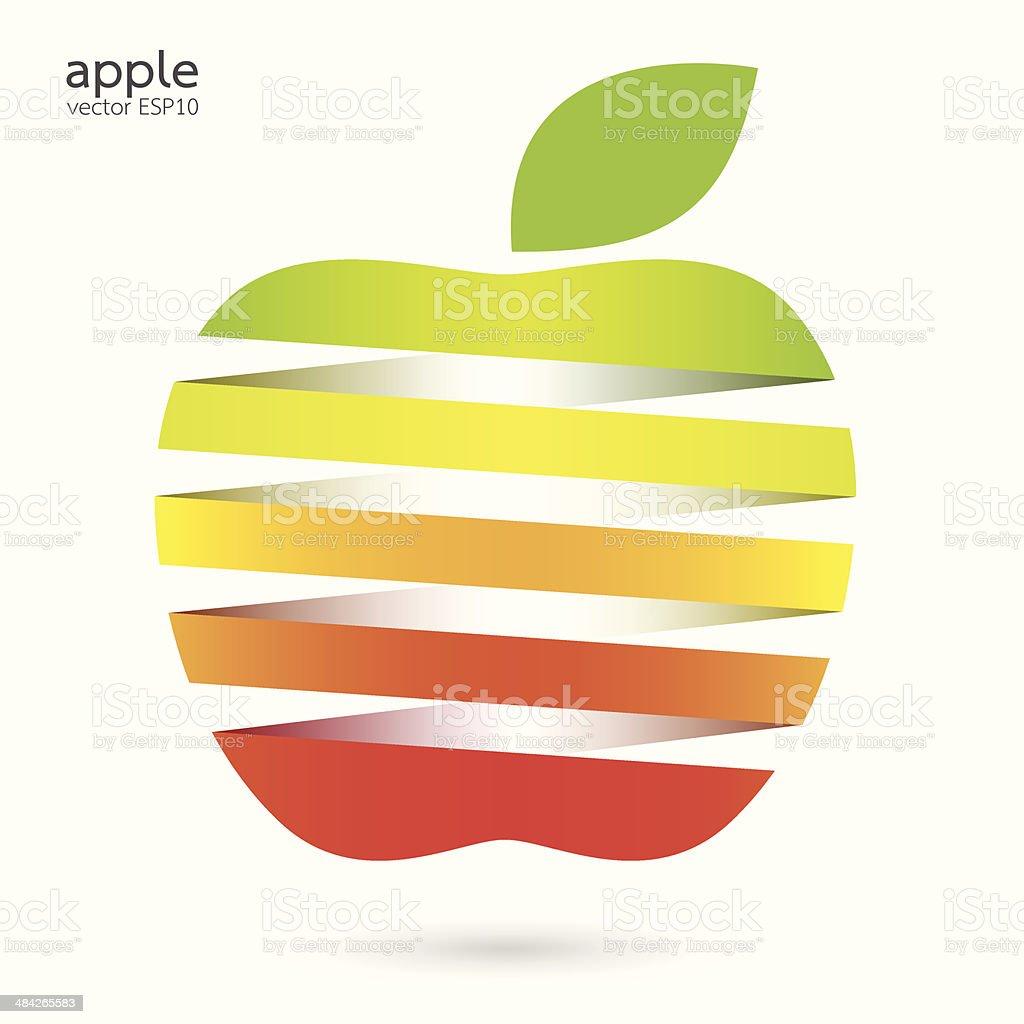 Colorful apple with green leaf vector illustration vector art illustration