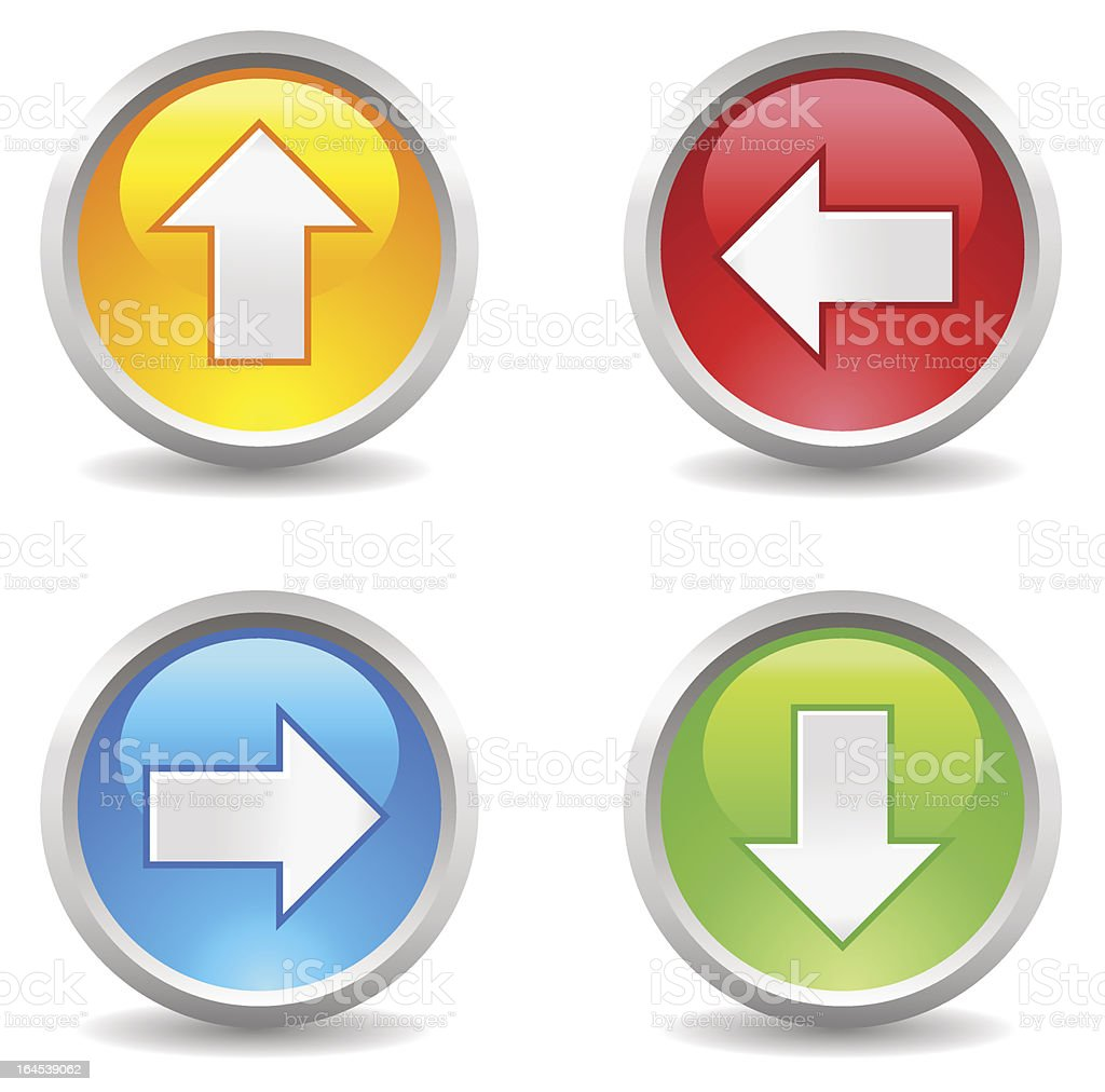 Colorful arrow buttons pointing royalty-free stock vector art