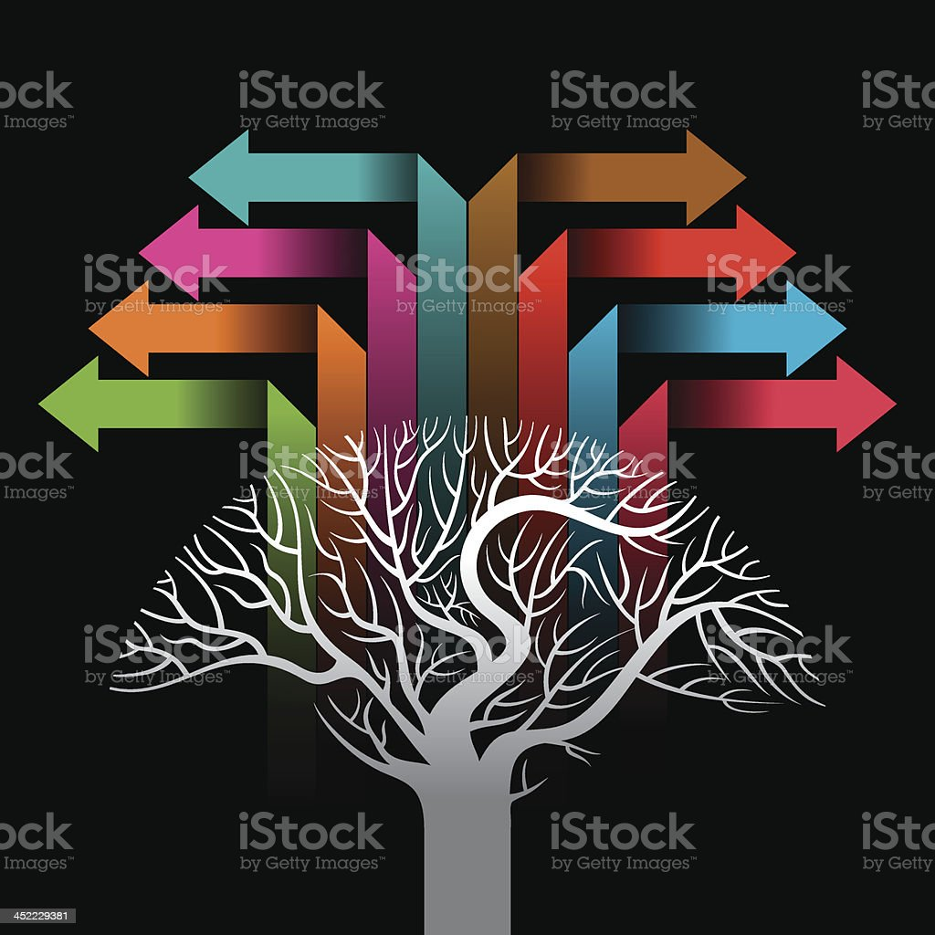 colorful arrows forming a tree royalty-free stock vector art