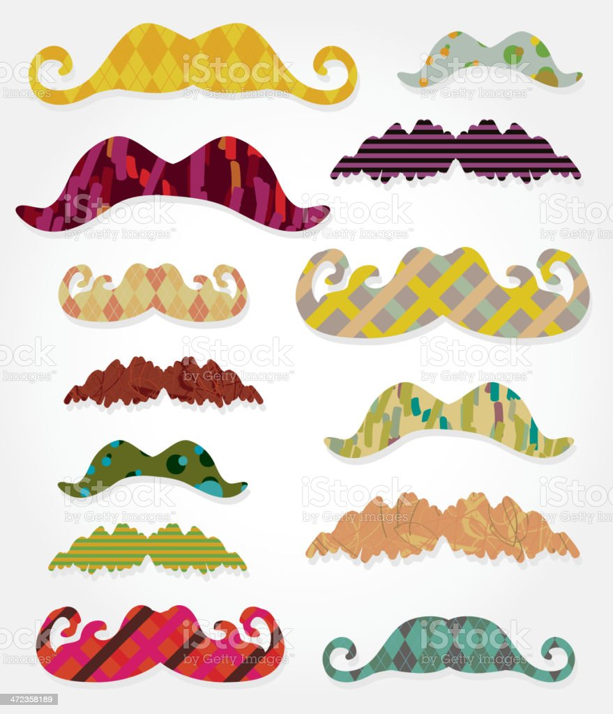 Colorful assorted patterns mustache set royalty-free stock vector art