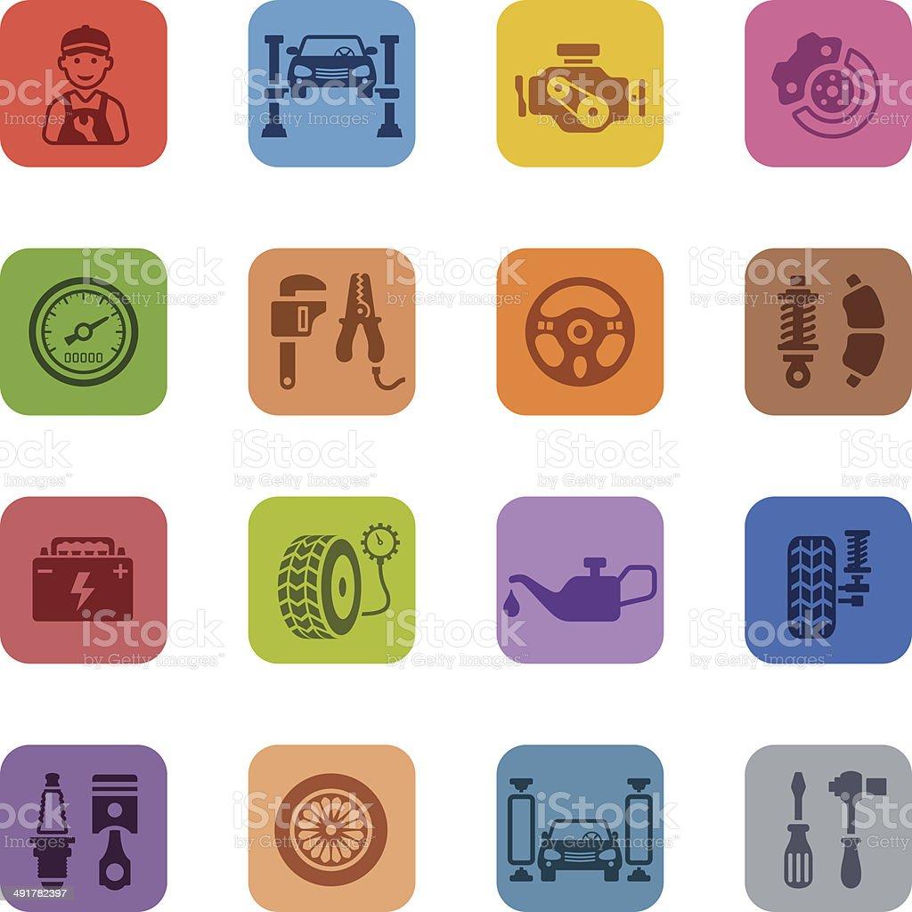 Colorful Auto Service Icon Set vector art illustration