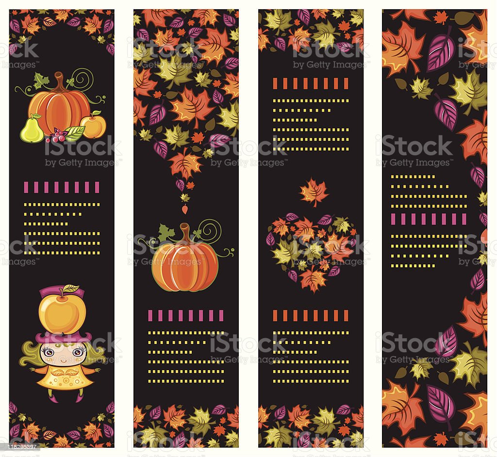 Colorful autumnal banners vector art illustration
