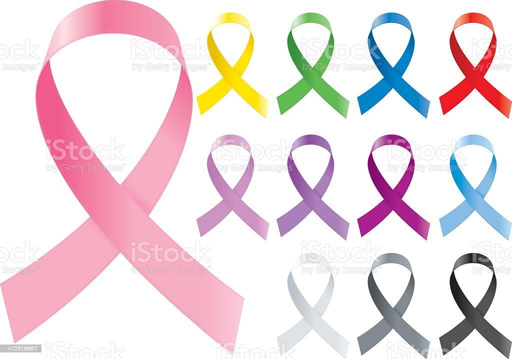 Colorful awareness ribbons design vector art illustration