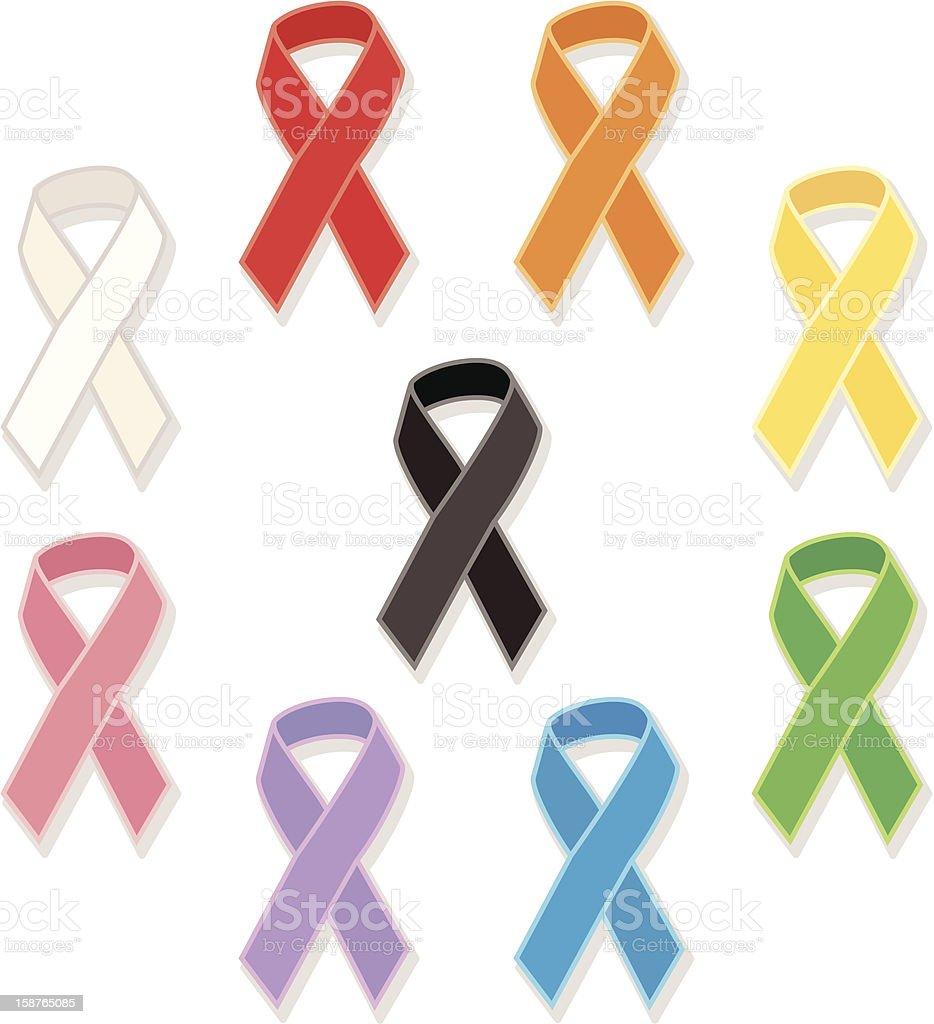 Colorful awareness ribbons on white background vector art illustration