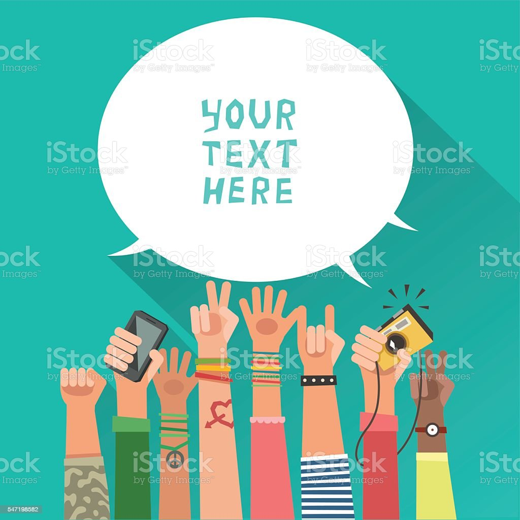 Colorful background with a lot of hands of young people vector art illustration