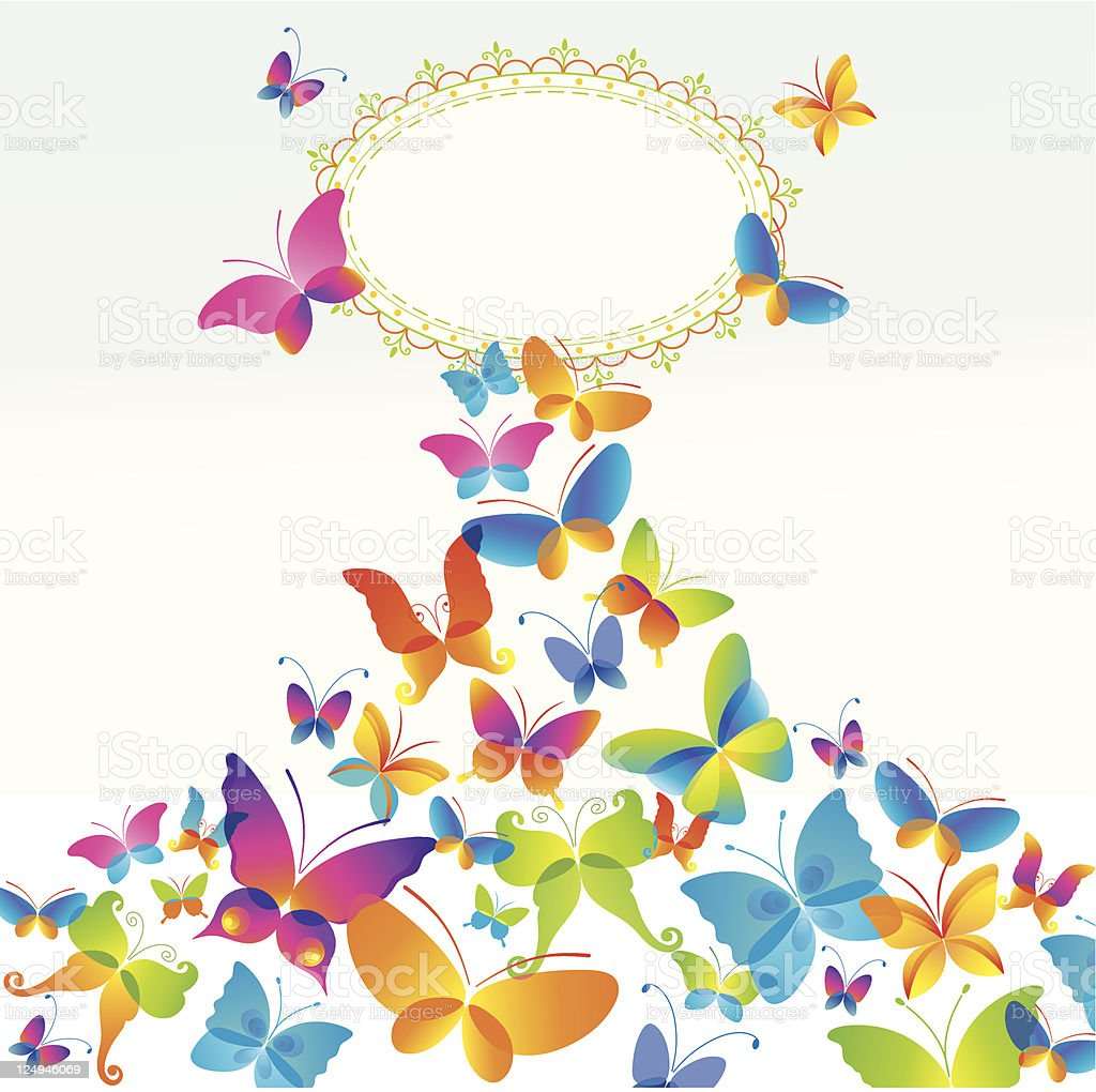 Colorful background with butterfly. royalty-free stock vector art