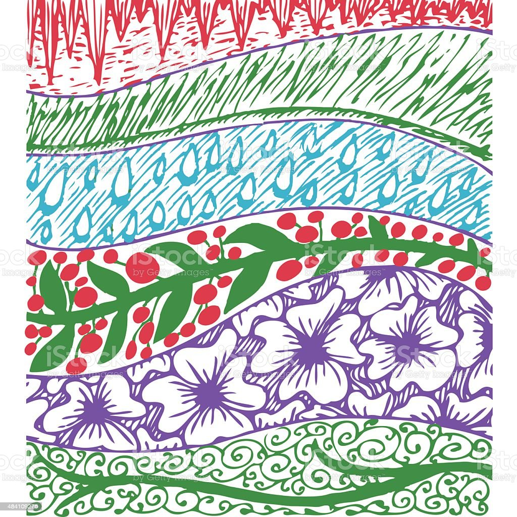 Colorful background with floral hand drawn patterns, sun, grassy, fain vector art illustration